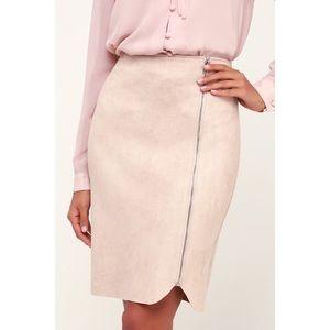 cc4b5c64b2 Lulu's Skirts | Lulus Margeaux Blush Suede Pencil Skirt L | Poshmark